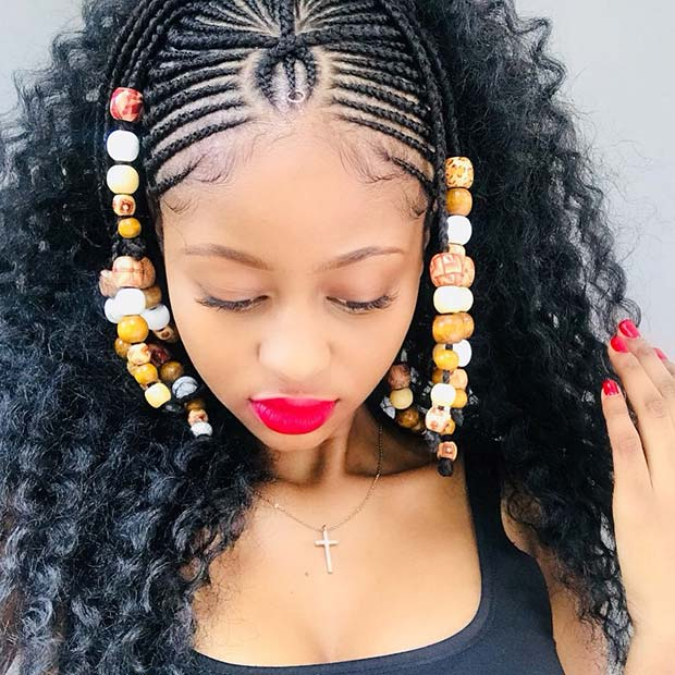 Fulani Braids with Beads and Crochet Hair