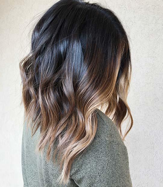 Dark Brown Lob Haircut with Balayage Highlights