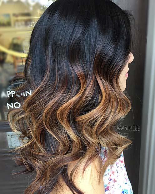 Dark Hair with Bronde Balayage Highlights