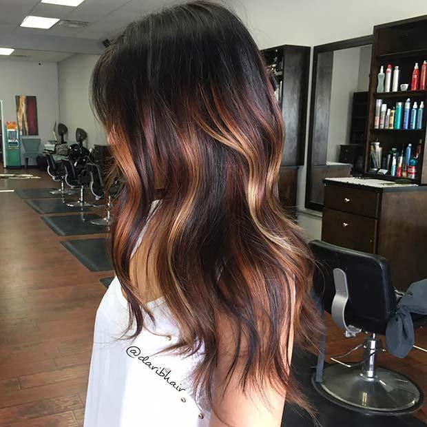Dark Hair with Warm Balayage Highlights