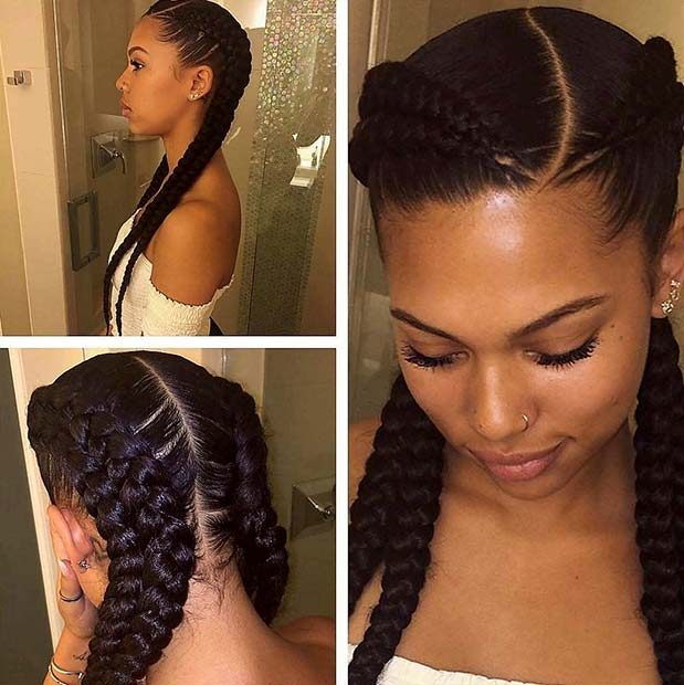 Double Cornrows Black Braided Hairstyle