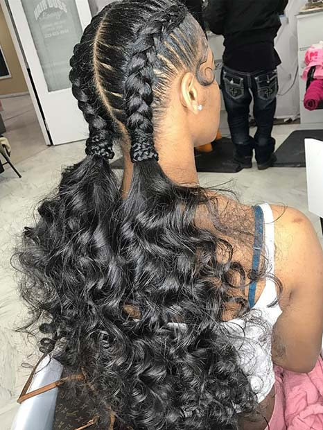 Feed In Braids with Ponytail Curls