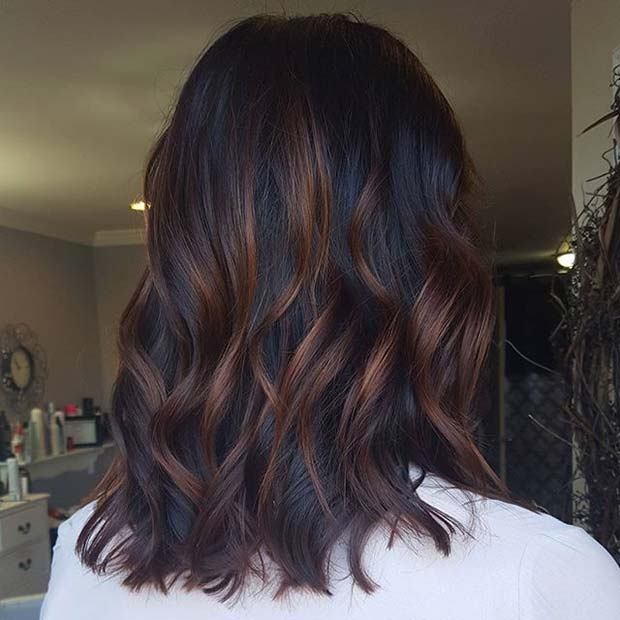 Subtle Balayage Highlights for Dark Brown Hair