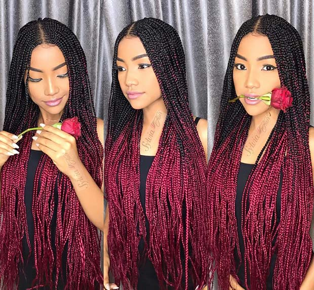Long Ombre Braids with Color