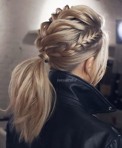 Stylish Multi Braid Ponytail Look