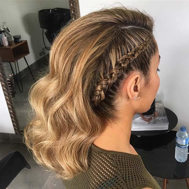 Trendy Side Braid Prom Hair Idea