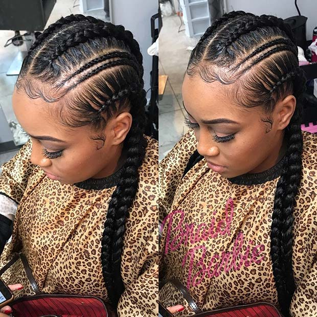 Trendy Thin Double Feed In Braids