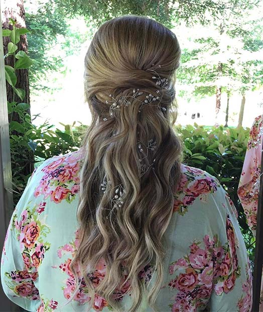 Half Up Hair with Waves and Pearl Accessories Wedding Hair Idea