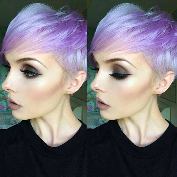 Purple Colored Pixie Cut