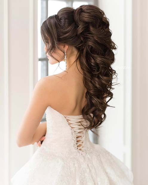 Voluminous Curled Half Up Wedding Hair