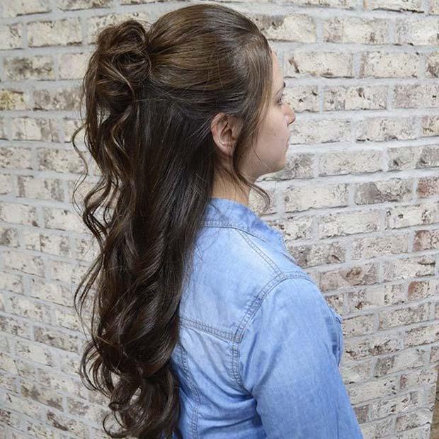 Curled Half Bun Wedding Hairstyle Idea