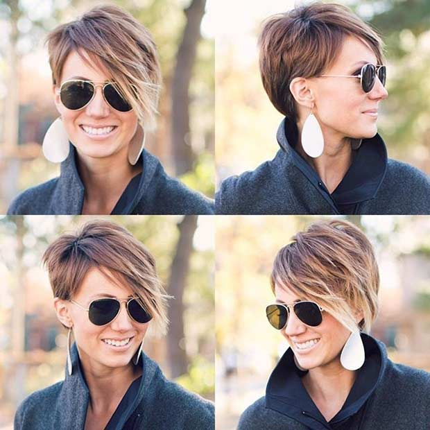 Asymmetrical Pixie Haircut with Highlights