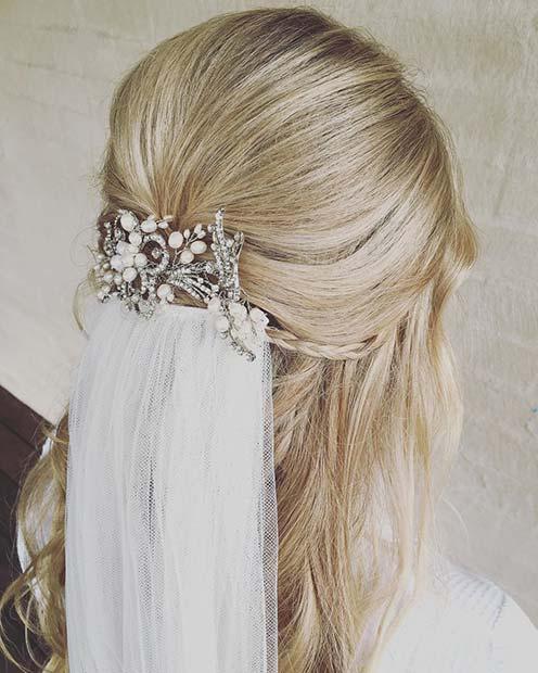 Wavy Half Up Hair with Braids and Veil Wedding Hair Idea