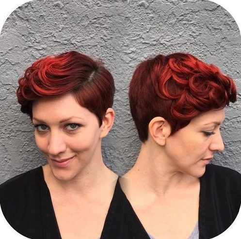 vintage red pixie hairstyle